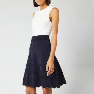 Ted Baker Women's Polino Contrast Skirt Knitted Dress - Dark Blue