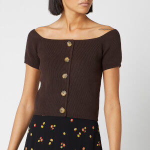 Whistles Women's Button Front Rib Knit - Brown