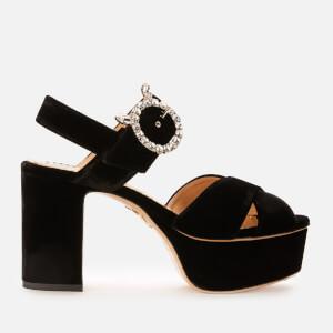 Charlotte Olympia Women's Velvet Heeled Platform Sandals - Black