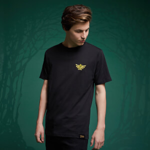 Legend Of Zelda Hyrule Crest Embroided T-Shirt - Schwarz