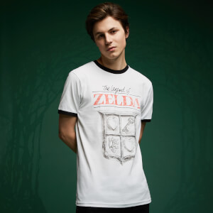 Camiseta ringer Legend Of Zelda Retro Logo - Blanco/negro