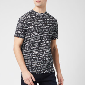 Armani Exchange Men's All Over Logo T-Shirt - Black