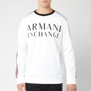 Armani Exchange Men's Stripe Detail Crew Neck Top - White
