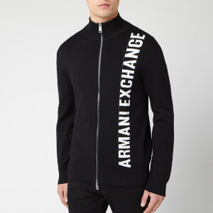 Armani Exchange Men's Vertical Logo Knit - Black