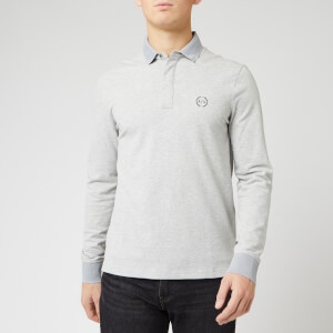 Armani Exchange Men's Reverse Logo Long Sleeve Polo Shirt - Grey