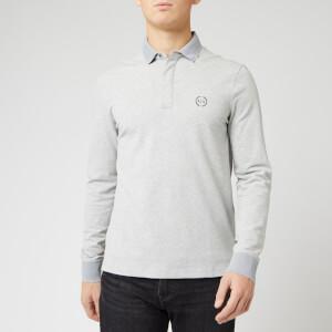Armani Exchange Men's Reverse Logo Long Sleeve Polo Shirt - Grey