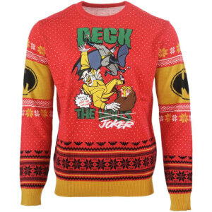 Batman Deck The Halls Kintted Christmas Jumper