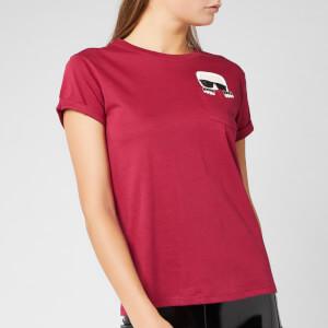 Karl Lagerfeld Women's Ikonik Karl Pocket T-Shirt - Rumba Red