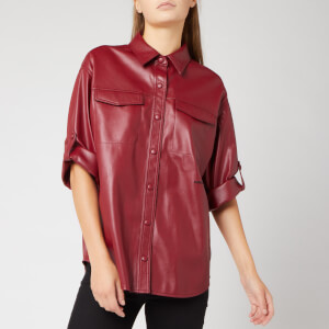Karl Lagerfeld Women's Faux Leather Shirt - Rumba Red