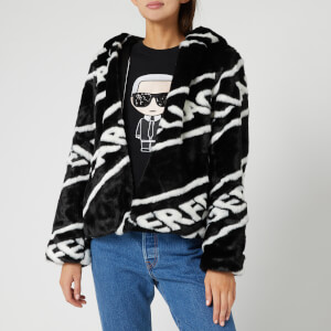 Karl Lagerfeld Women's Faux Fur Jacket with Logo - Black/White