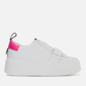 Ash Women's Miracle Leather Flatform Trainers - White/Fluo Pink