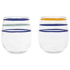 Kate Spade Citrus Twist Stripe Stemless Wine Glass