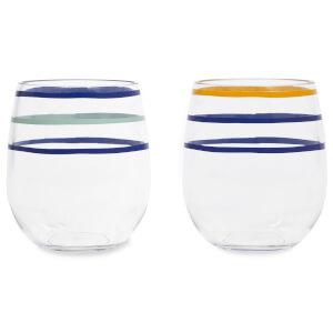 Kate Spade Citrus Twist Stripe Stemless Wine Glass