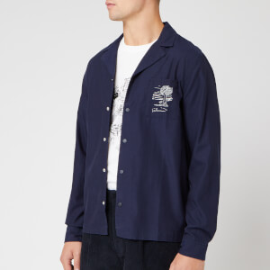Folk Men's Soft Collar Shirt - Charm Embroidery Navy