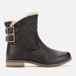 Barbour Women's Jessica Leather/Suede Buckle Flat Boots - Black