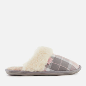 Barbour Women's Lydia Suede Mule Slippers - Pink/Grey Tartan
