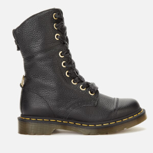Dr. Martens Women's Aimilita Leather/Tartan Toe Cap 9-Eye Boots - Black/Stewart