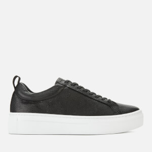 Vagabond Women's Zoe Embossed Leather Platform Trainers - Black