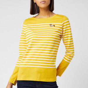 Joules Women's Harbour Embroidered Top - Gold Stripe
