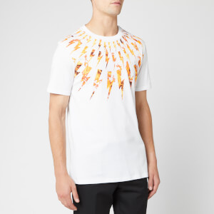 Neil Barrett Men's Flame Fairisle Thunderbolt T-Shirt - White/Orange