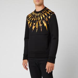 Neil Barrett Men's Flame Fairisle Sweatshirt - Black/Orange