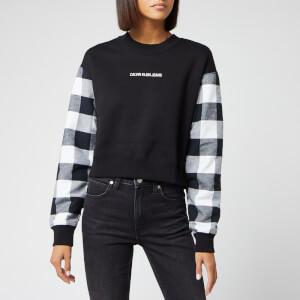 Calvin Klein Jeans Women's Buffalo Check Sleeve Crop Sweat - Black