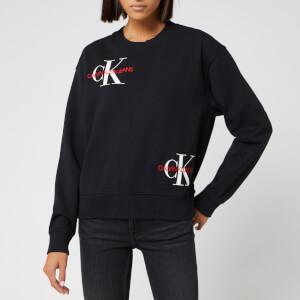 Calvin Klein Jeans Women's Washed Monogram Oversized Sweatshirt - Black