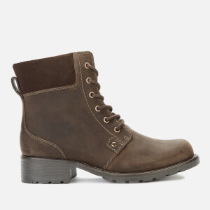 Clarks Women's Orinoco Spice Nubuck Lace Up Boots - Dark Brown
