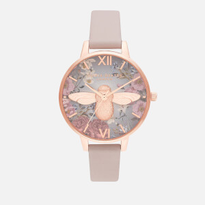 Olivia Burton Women's 3D Bee British Blooms Watch - Vegan Rose & Rose Gold