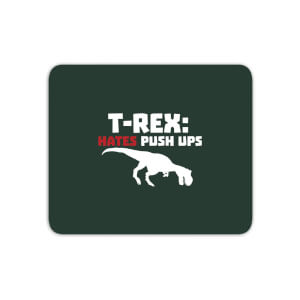 T-Rex Hates Pushups (white) Mouse Mat