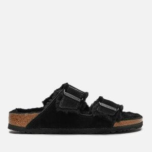 Birkenstock Women's Arizona Slim Fit Shearling Double Strap Sandals - Black/Black