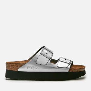 Birkenstock Papillio Women's Arizona Metallic Platform Double Strap Sandals - Silver