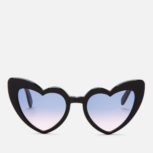 Saint Laurent Women's Loulou Heart Shaped Sunglasses - Black/Violet