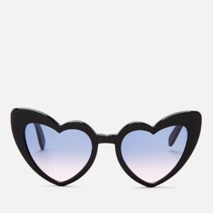 Saint Laurent Women's Loulou Heart Shaped Sunglasses - Black/Violet
