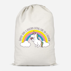 Happier Than A Unicorn Eating Cake Cotton Storage Bag