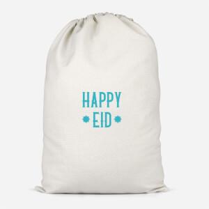 Happy Eid Aqua Cotton Storage Bag