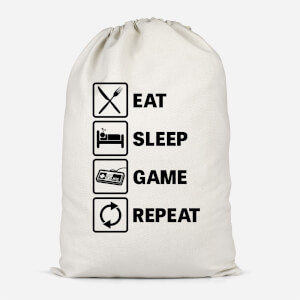 Eat Sleep Game Repeat Cotton Storage Bag
