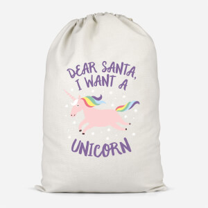 Dear Santa, I Want A Unicorn Cotton Storage Bag