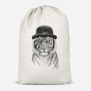 Tiger In A Hat Cotton Storage Bag