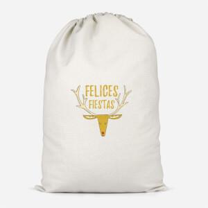 Felices Fiestas Reindeer Cotton Storage Bag