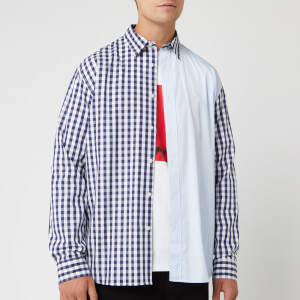 JW Anderson Men's Gingham Patchwork Shirt - Midnight Blue