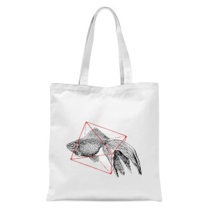 Fish In Geometry Tote Bag - White