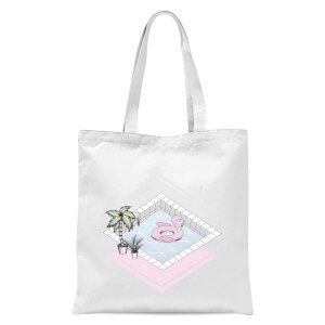 Flamingos Paradise Tote Bag - White