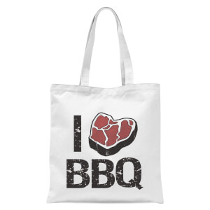 I Love BBQ Tote Bag - White