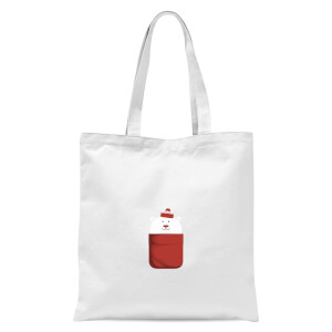 Christmas Polar Bear Pocket Tote Bag - White