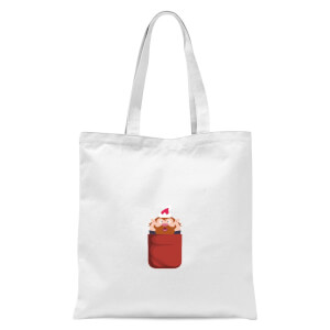 Christmas Elf Pocket Tote Bag - White