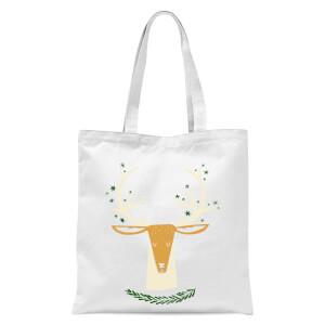 Christmas Reindeer Head Tote Bag - White