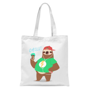Sloth Chill Tote Bag - White