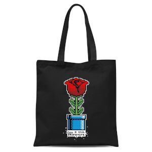 Say It With Flowers Tote Bag - Black