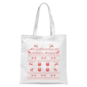 Merry Christmas Ya' Fitness Animal Tote Bag - White